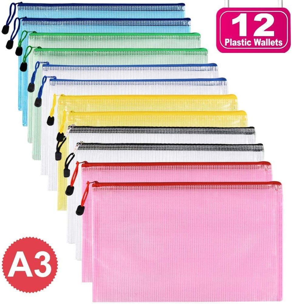 Carteras de plástico – Carpetas con cremallera billetera para documentos carpeta con cremallera bolsa de almacenamiento a4, color A3-12 unidades. 12PCS