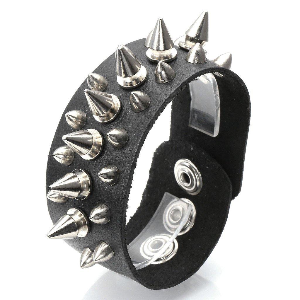 Zysta Cool Punk 35MM Wide Wristband Cuff Belt Bracelet Spike Stud Bangle Black Genuine Leather Punk Rock 6.6