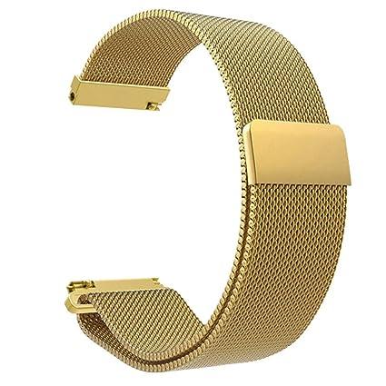 diadia Correa de reloj deportivo de acero inoxidable para Xiaomi Amazfit Bip Youth Watch, dorado