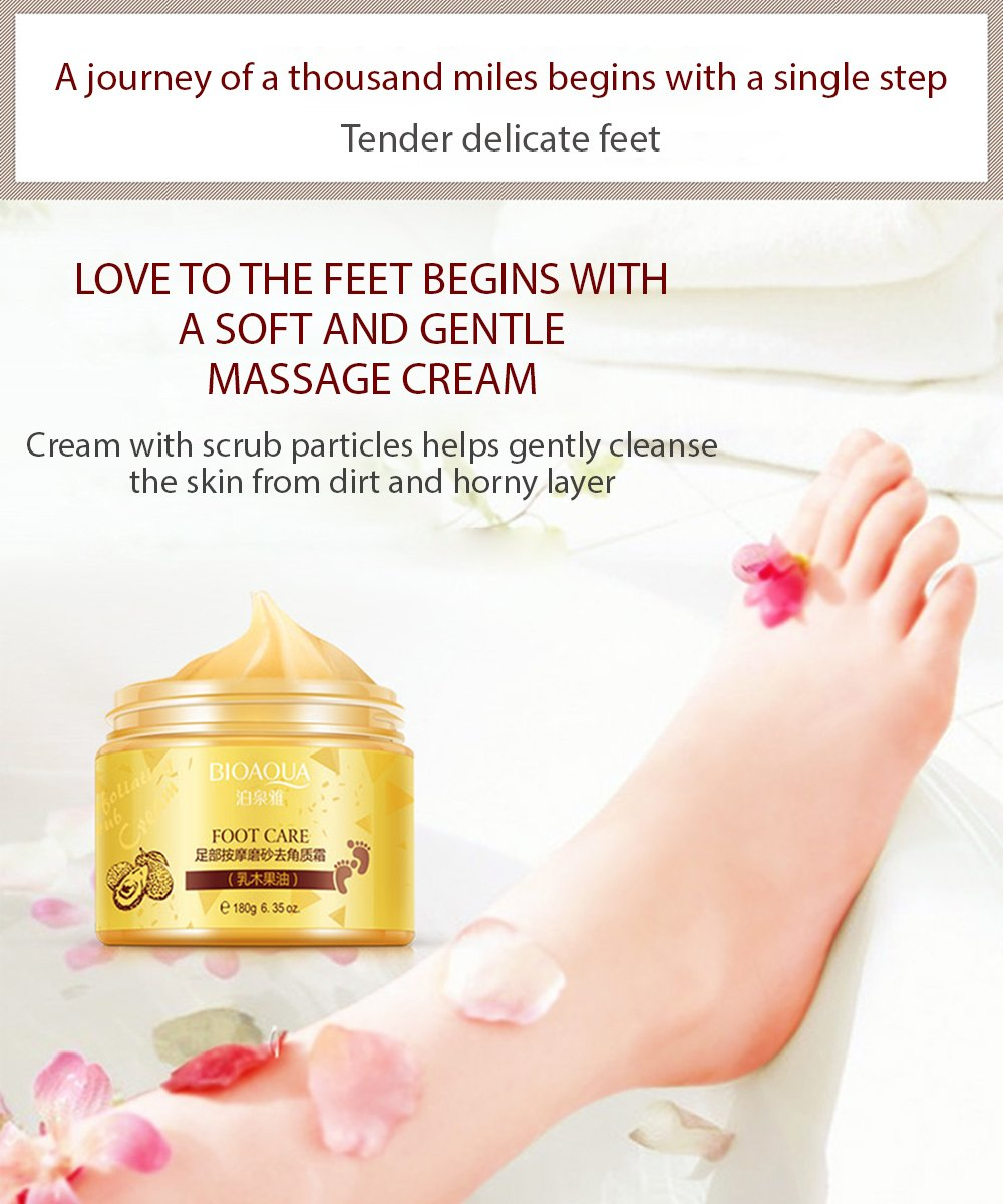BIOAQUA Foot Care Herbal Cream Cleansing Delicate Feet Exfoliate Scrub Skin 180g by BIOAQUA (Image #3)
