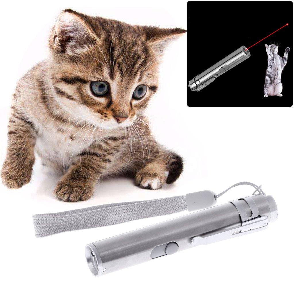 ECMQS Gatos Teaser juguete, 3 en 1 Interactive LED Luz puntero Pen USB recargable linterna Pen: Amazon.es: Coche y moto