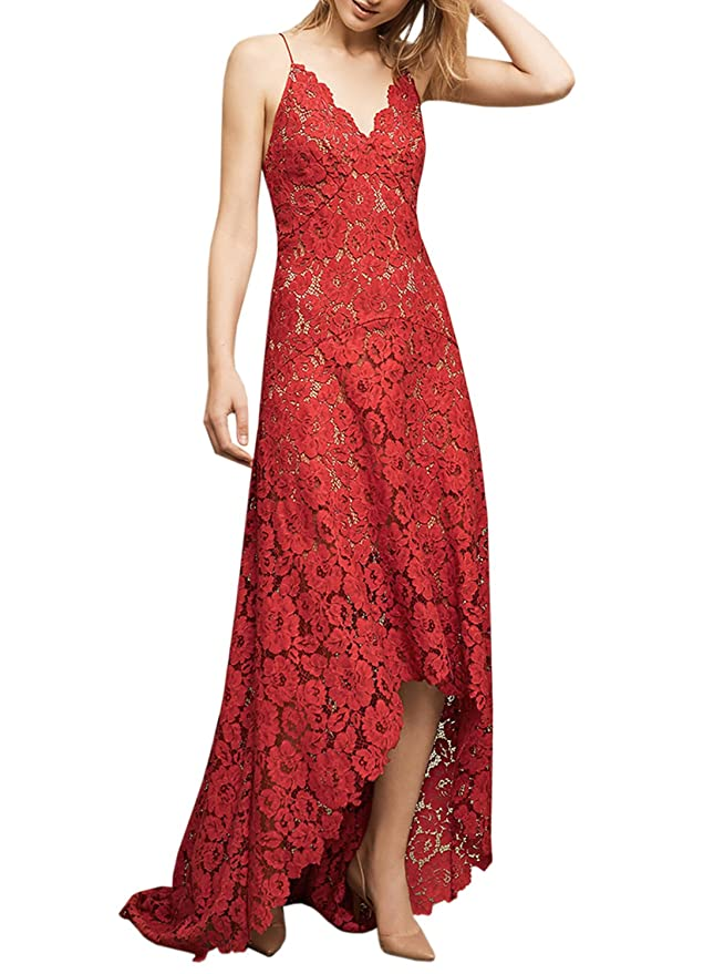 ASVOGUE Mujer Encantador Vestido de Fiesta Largo Cuello V Tirantes Finos, rojo XS: Amazon.es: Ropa y accesorios