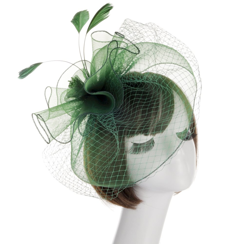 Lusiyu Fashion Women's Flower Feather Mesh Net Fascinator Hat (Green)