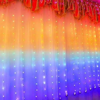 210 LED Rainbow Curtain Lights Hanging Fairy String USB Party Wedding Home Decor