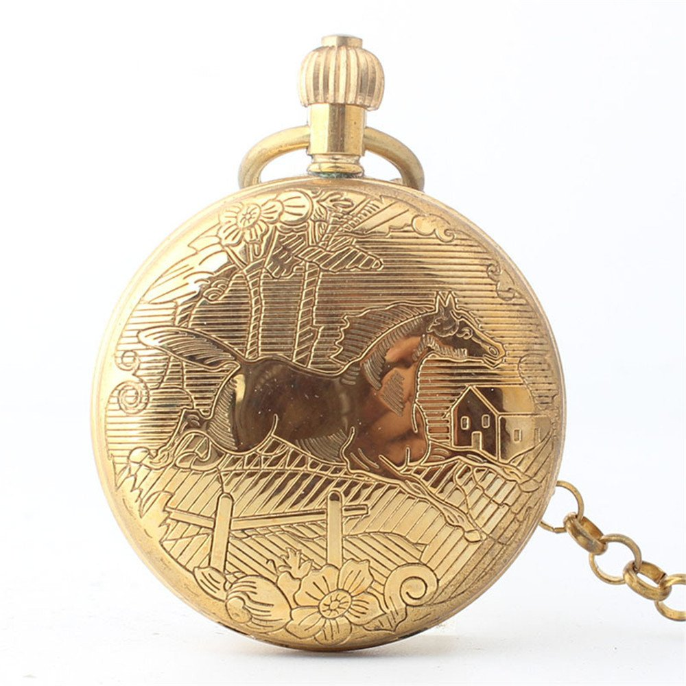 Zxcvlina Classic Smooth Creative Horse Carved Golden Retro Mechanical Pocket Watch with Chain for Unisex Birthday Gift Suitable for Gift Giving