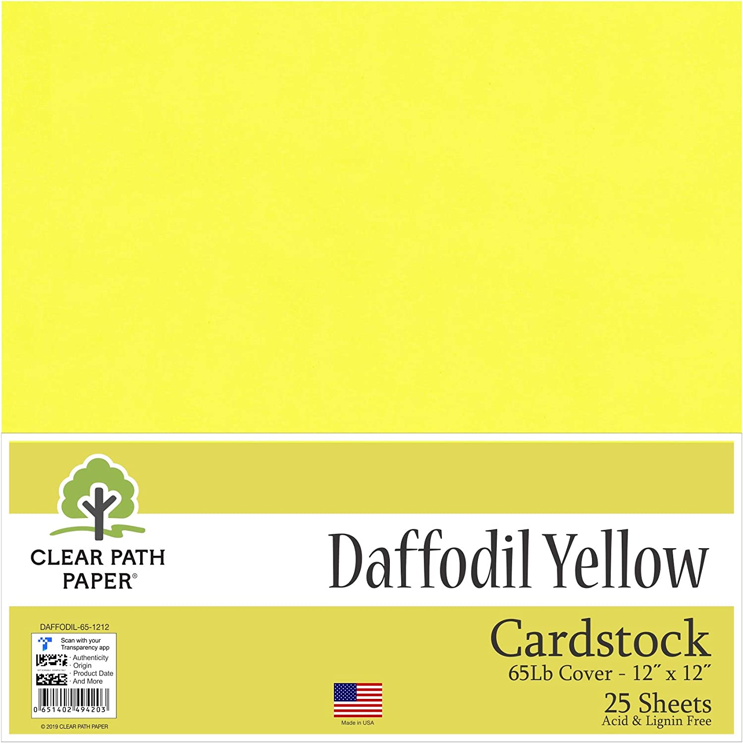 25 Sheets Daffodil Yellow Cardstock 12 x 12 inch 65Lb Cover