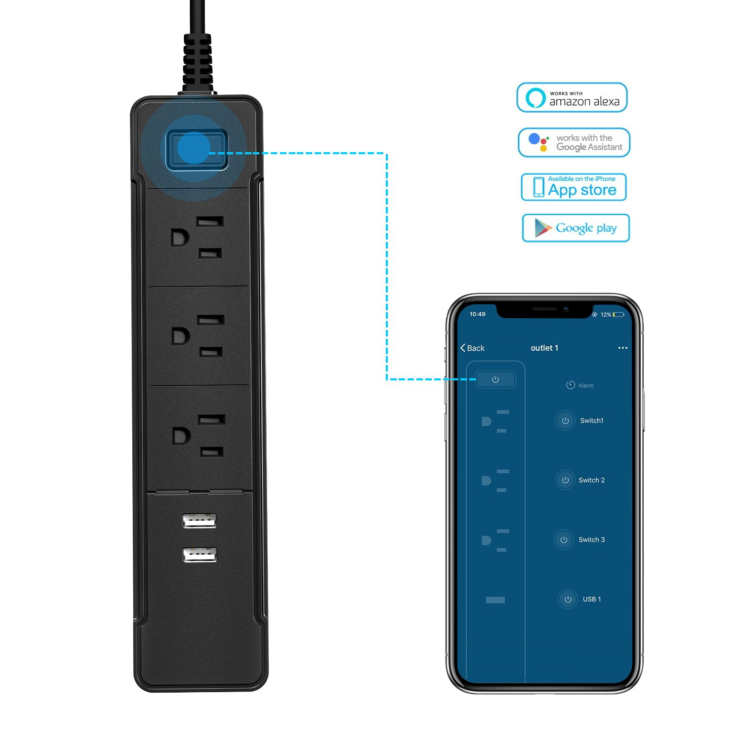 ERQIYU Wifi Smart Power Strip Alexa Surge Protector with 2 USB Charging Ports and 3 Smart AC Plugs for Power Socket Outlet Switches, Voice Controlled by Amazon Echo & Google Home (Black)