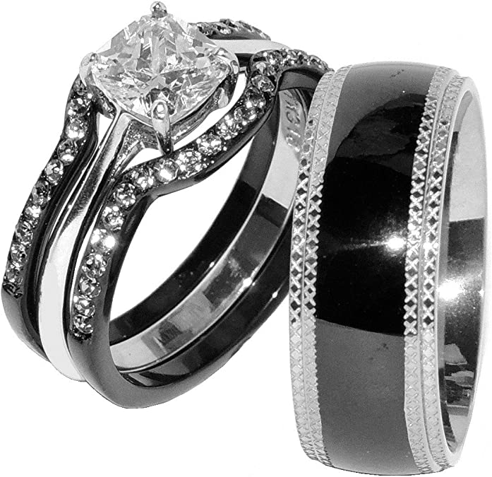Details about  /His /& Hers Wedding Rings Sets White Stainless Steel CZ Tungsten Men Band NP