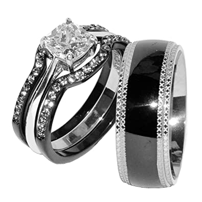 His Hers 4 PCS Black IP Stainless Steel CZ Wedding Ring Set Mens Matching