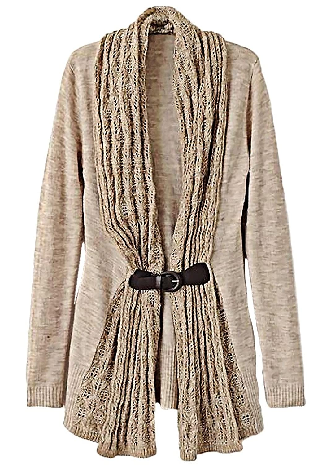 Carolina Women's Stylish Knitted Sweater with PU Leather Sash Soft Pullover SW20