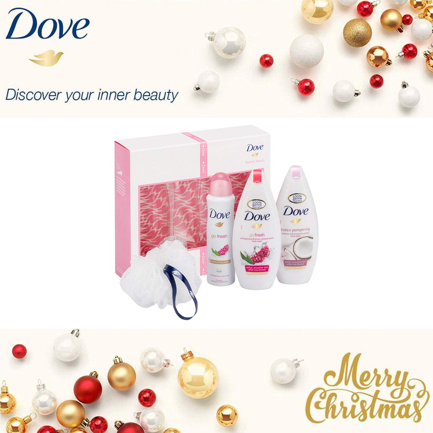 Dove Radiant Beauty Body Wash And Antiperspirant Trio Gift Set With Shower Puff Unilever