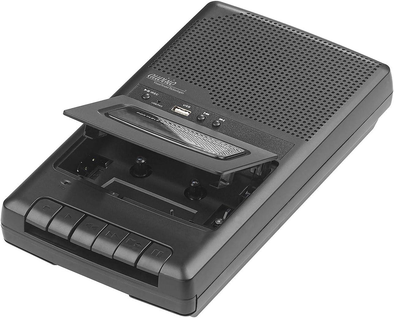 Lecteur de cassette mobile /& num/ériseur USB avec haut-parleur Auvisio prise casque et microphone