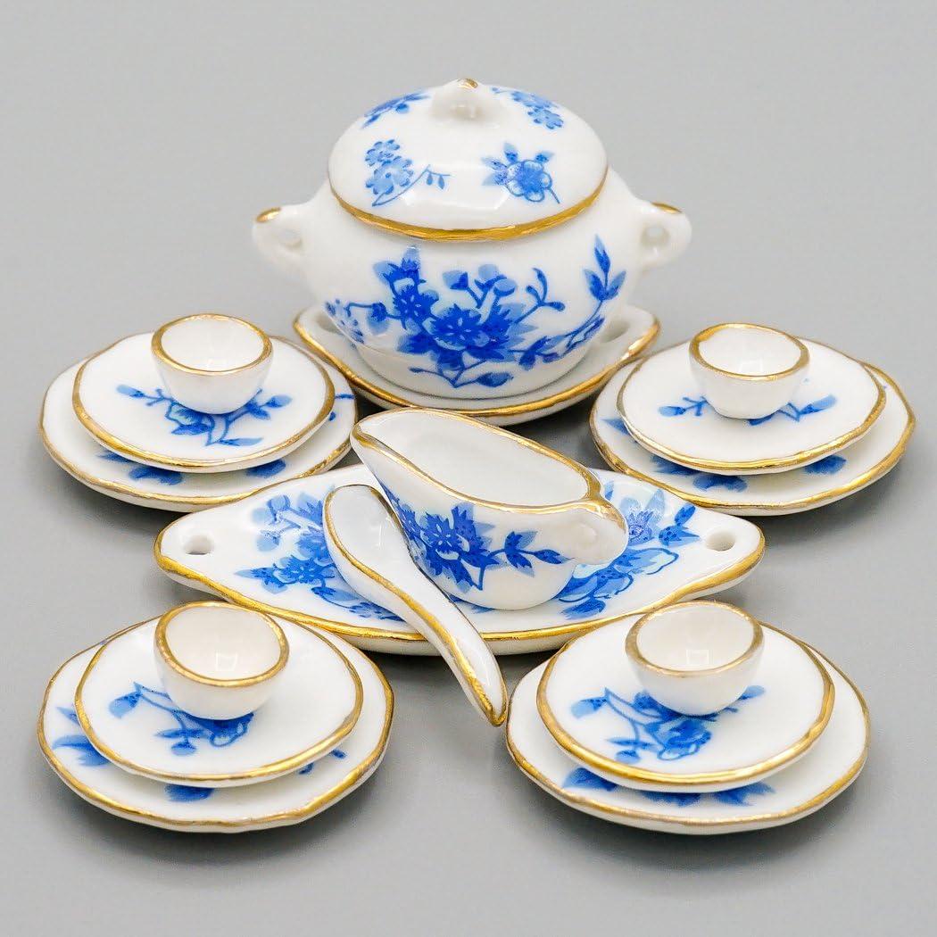 Amazon Com Odoria 1 12 Miniature 17pcs Blue Porcelain Tableware With Gold Trim Dollhouse Kitchen Accessories Toys Games