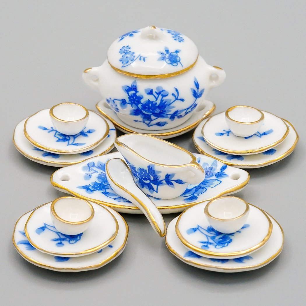 Odoria 1:12 Miniature 17PCS Blue Porcelain Tableware with Gold Trim Dollhouse Kitchen Accessories