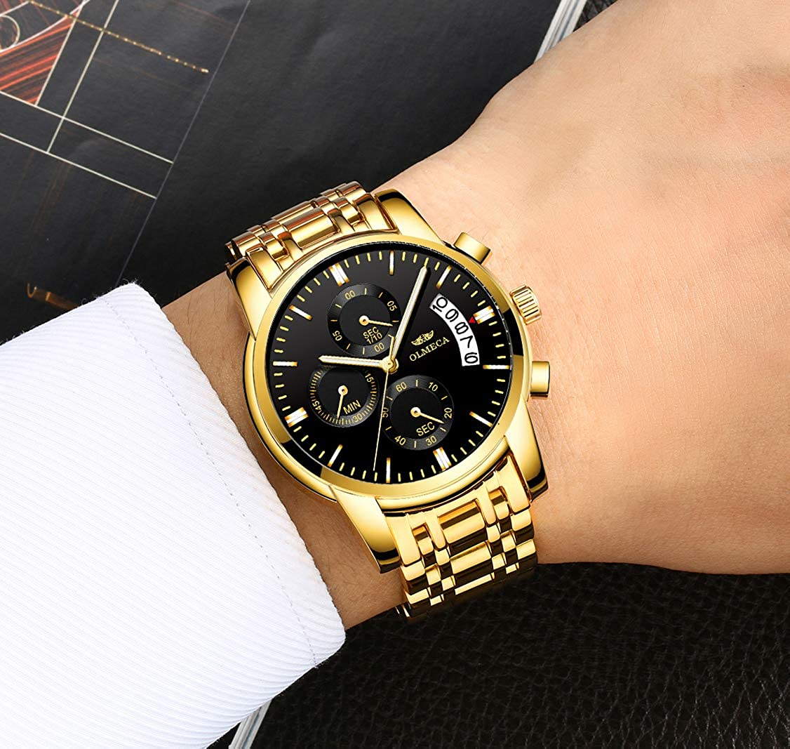 Amazon.com: OLMECA Mens Watches Luxury Wristwatches Rhinestone Watches Waterproof Fashion Quartz Watches Stainless Steel Black Watch 0826-QJHMgd: Watches