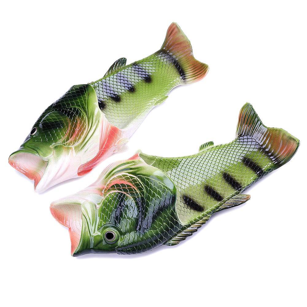 Han shan Unisex Anti Skid Fish Slippers Beach Slip On Open Toe Slide Animal Sandals For Women Men Kids (Female 11-12/male 10-11, Green)