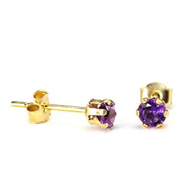 b507f8dc3 9ct Gold & 3mm Round Amethyst Gemstone Stud Earrings: Amazon.co.uk ...