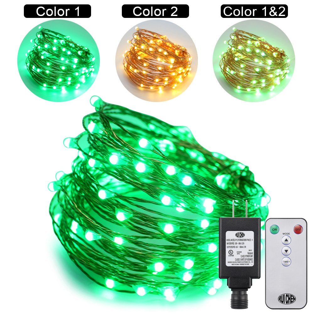 Ruichen Dual Color LED String Lights Color Changing Plug in, 66Ft 200LEDs 10 Modes Copper Wire Decorative Fairy Lights+Remote&Timer for Bedroom,Patio,Garden,Wedding (66Ft, Warm white & Green)
