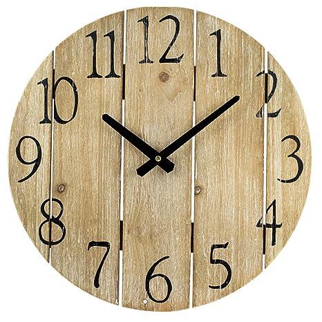 BHP Reloj de Pared Grande 40cms diámetro Vintage Madera MD