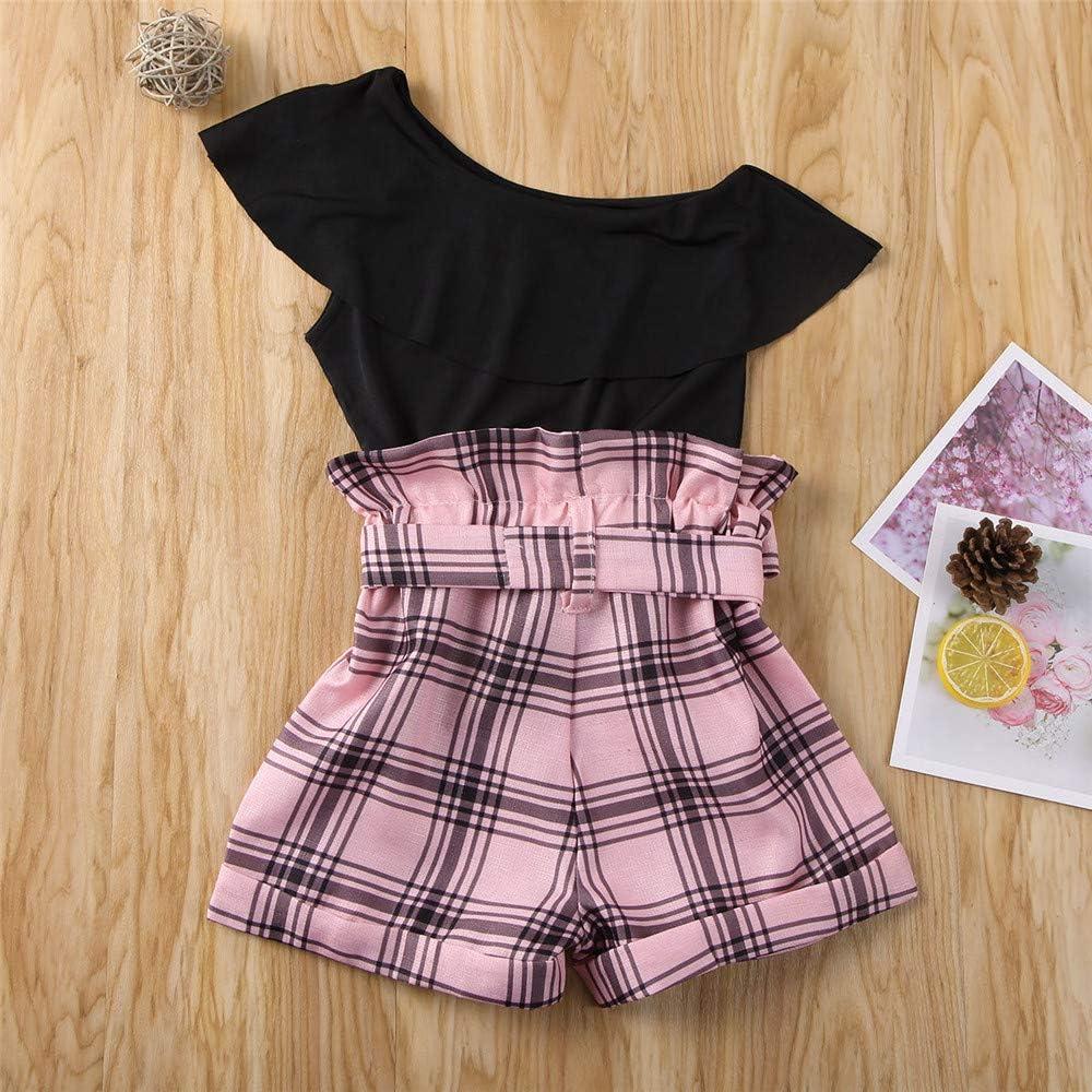 DuAnyozu 2Pcs Fashion Toddler Kids Little Girls Clothes Summer One Shoulder Ruffle Tops T Shirt+Plaid Shorts Outfits Set