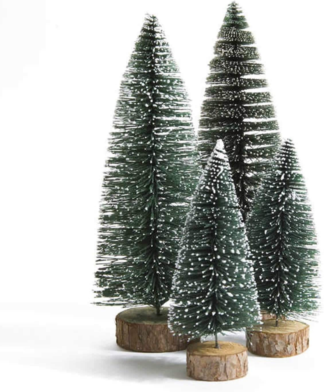 Dream Loom Mini Christmas Tree, A Set of 4 Sizes Artificial Small Tiny Pine Tree with Wooden Bases, for Xmas Holiday Room Tabletop Decor (Green)