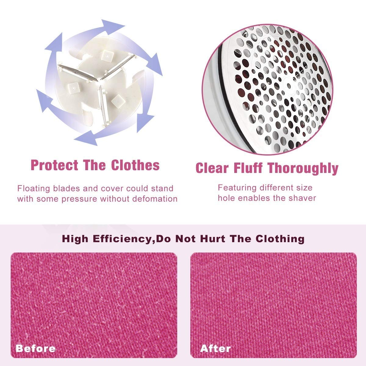 (2018)Fabric Shaver, Rechargeable Lint Fuzz Pill Remover Sweater Pilling Lint Shaver Defuzzer For Clothes Fluff Curtain with USB Cable 2 Replaceable Batteries and Replacement Blade