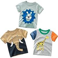 Camisetas Manga Corta Niños Algodón Blusa Tops Bebé Verano 1-7 Años Pack de 3