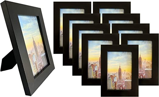 White Mat for 4x6 Image 1 Frame Amo 6x8 Black Wood Picture Frame 3 or 10 PACK