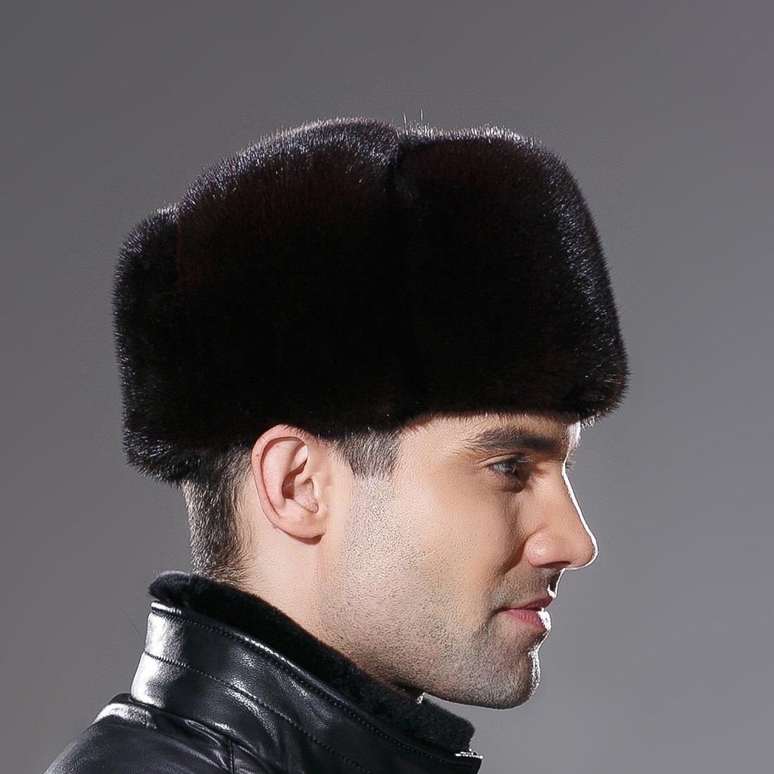 URSFUR Russian Fur Ushanka Hat Mens Winter Real Min Fur Trapper Cap Brown L by URSFUR (Image #5)