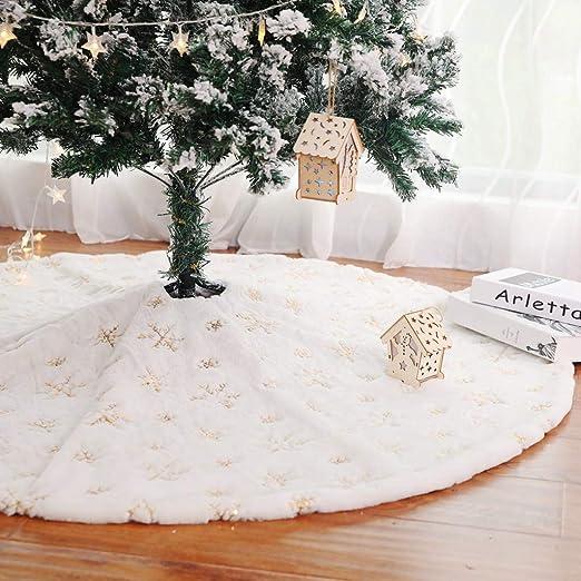 Blanca Falda de Árbol de Navidad, Peluche Christmas Tree Skirt ...