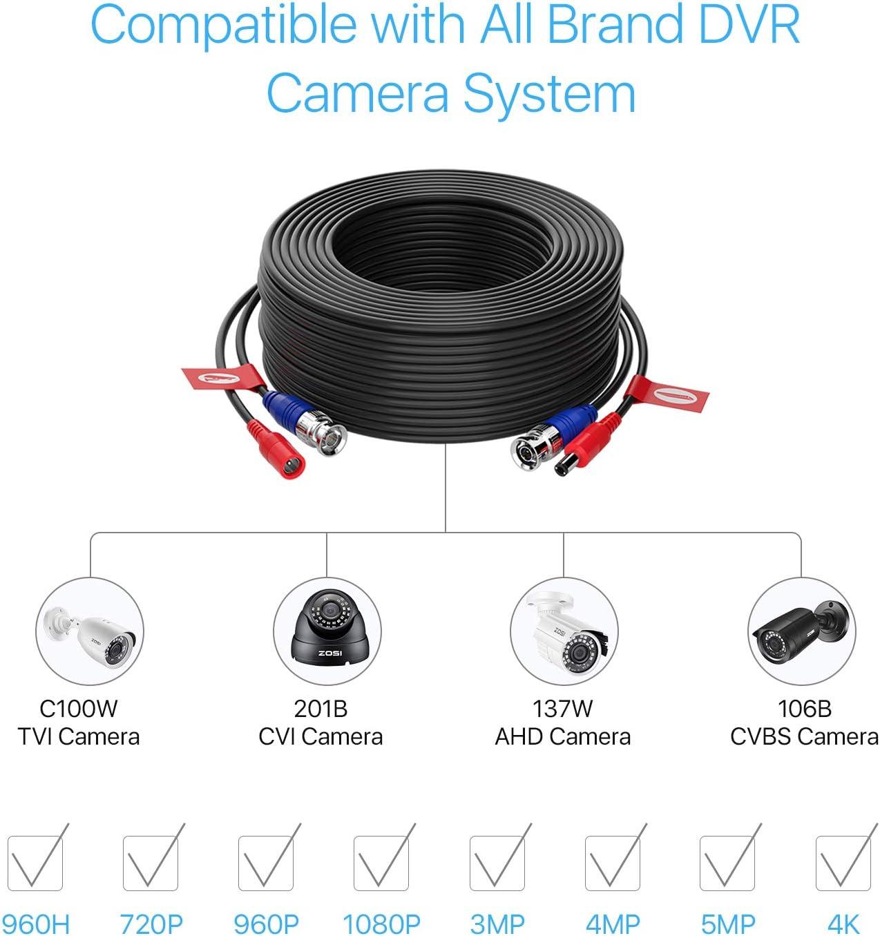 ZOSI 4pcs Cable 30m//100 pies de BNC Video Fuente de Alimentaci/ón para Kit CCTV C/ámara de Vigilancia DVR Sistema Seguridad Hogar 4 Pack Negro
