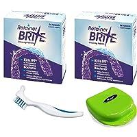 Retainer Brita Cleaning Tablets - 72 with KAV PLUS White Denture Brush & Retainer Case Box