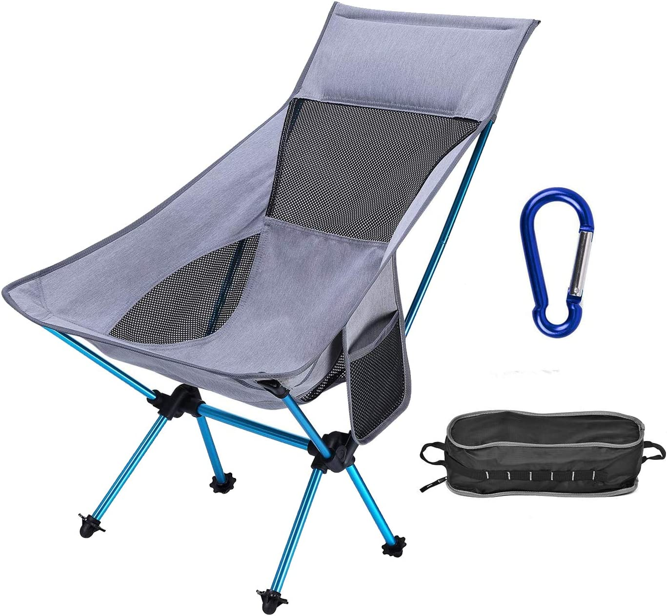 Portable Outdoor Backpack Camp Chair with Headrest for Picnic Beach Hiking Fishing ACTIONCLUB Folding HighBack Camping Chair 310 Lbs Capacity