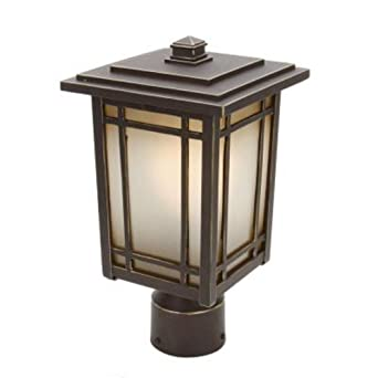 Home Decorators Collection Port Oxford 1 Light Outdoor Oil Rubbed Chestnut Post Mount Lantern