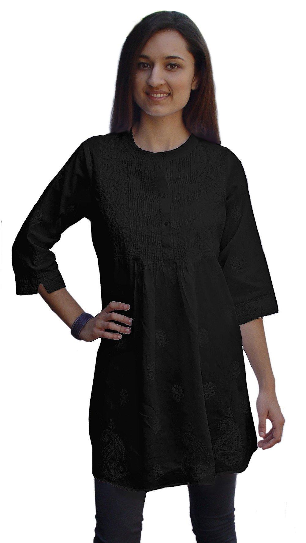 Ayurvastram Pure Cotton Hand Embroidered Tunic, Top, Kurti, Blouse: Black: Size 28W Plus