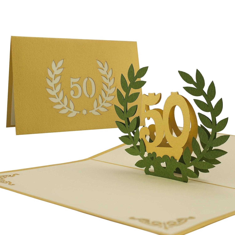 L11 Tarjeta de felicitación 50 años bodas de oro desplecable hecho ...