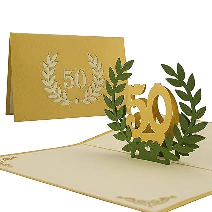 L11 Tarjeta De Felicitación 50 Años Bodas De Oro Desplecable Hecho A Mano Diseño En 3d Con Acero