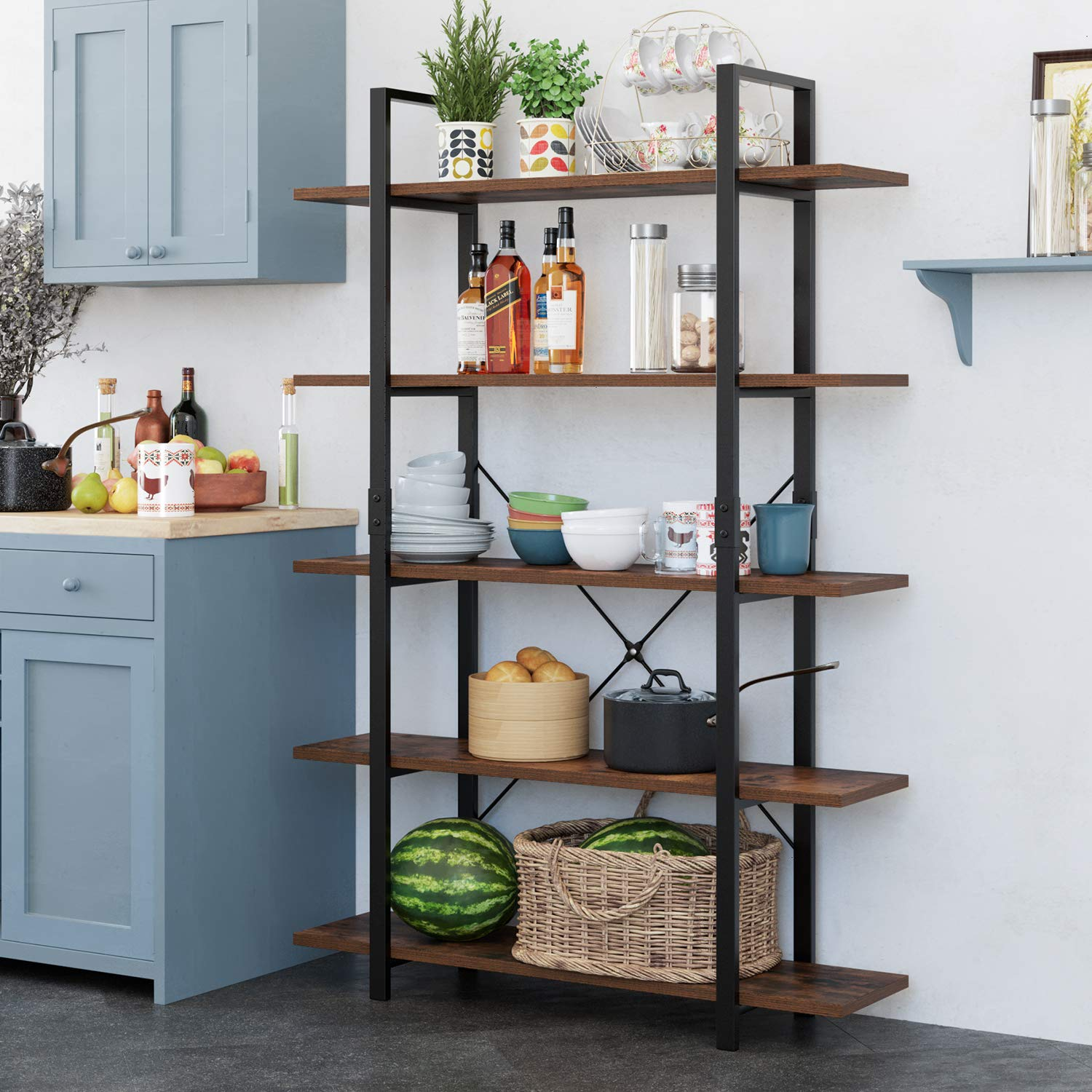 Homfa Bookshelf, 5-Tier Industrial Bookcase, Open Storage Display Shelves Organizer, Accent Furniture with Wood Grain Shelves and Metal Frame for Home Office, 47L x 13W x 70H by Homfa