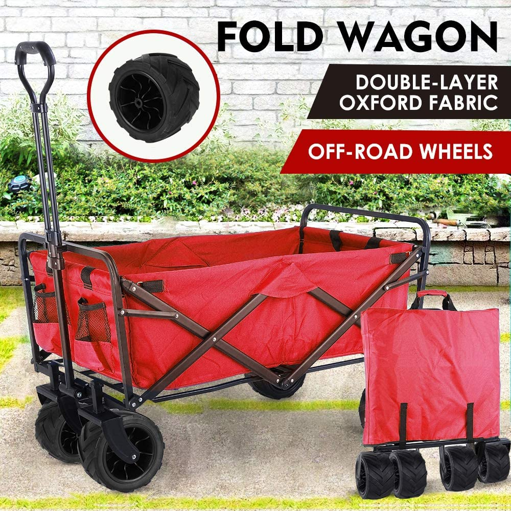 """Collapsible Outdoor Utility Wagon, Heavy Duty Folding Garden Portable Hand Cart, with 8"""" All-Terrain Wheels and Drink Holder, Adjustable Handles and Double Fabric, for Beach, Garden, Sports (Red)"""