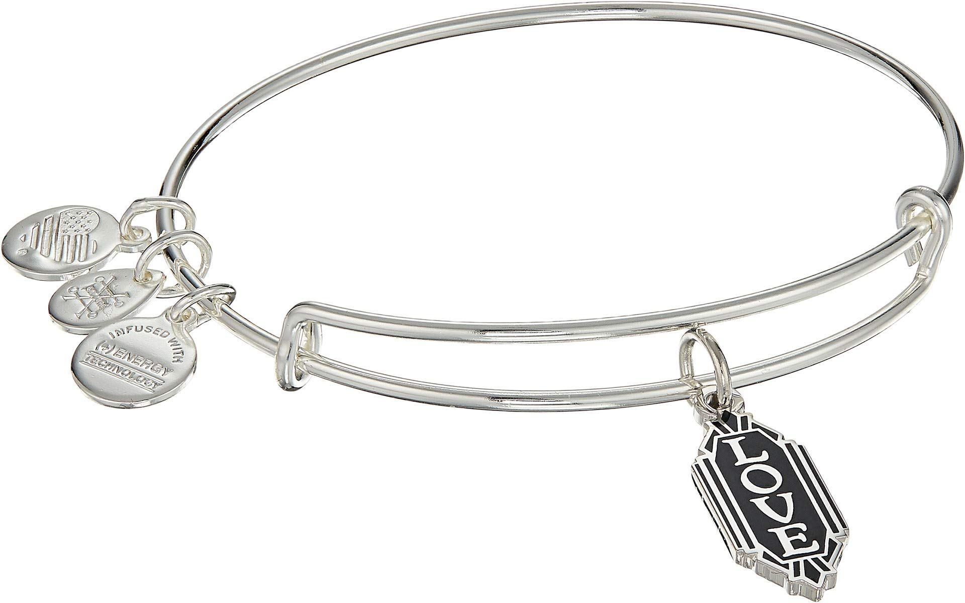 Alex and Ani Women's Color Infusion, Love Expandable Wire Bracelet Shiny Silver One Size