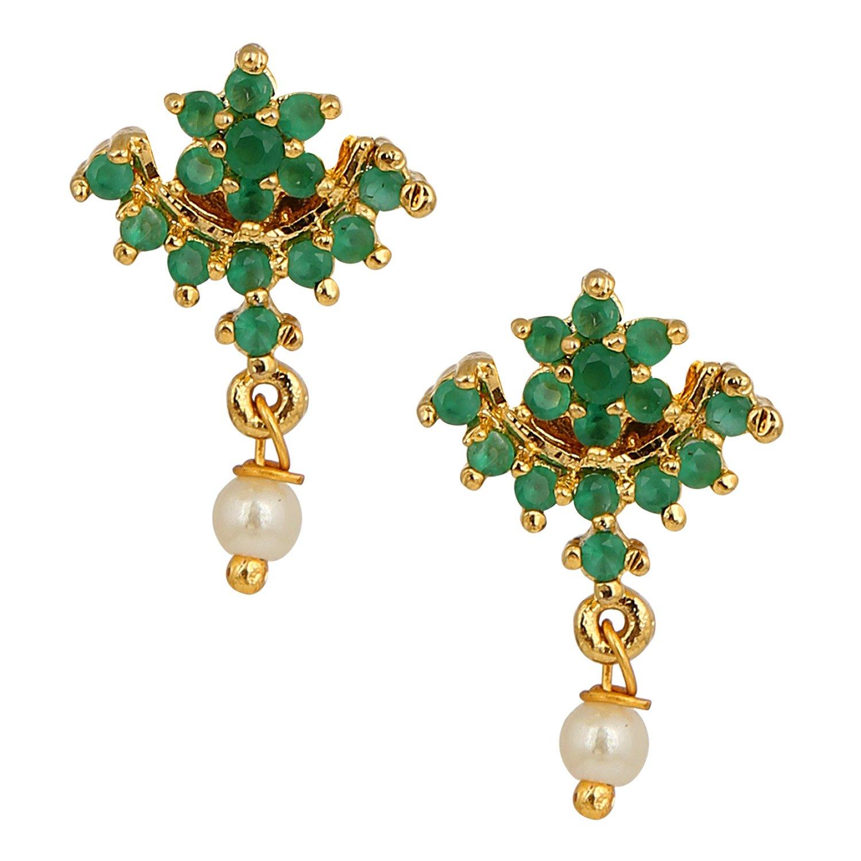 Efulgenz Stud Earrings 14 K Gold Plated Hypoallergenic Cubic Zirconia Dainty Floral Emerald Green Studs Pearl Drop Pierced for Women Girls