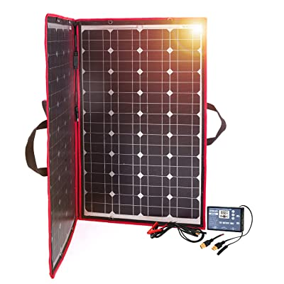 DOKIO 100W 12V Foldable Solar Panel Kit Monocrystalline with Solar Controller with 2 USB Ports Output for Caravan RV Boat Camper(Portable, HIGH-Efficiency) : Garden & Outdoor