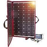 DOKIO 100w 折りたたみ式 単結晶 ソーラーパネル(太陽光パネル)12v自作のソーラー発電(太陽光発電)に最適な小型・家庭用太陽パネル(太陽電池), USB(18V)出力端子
