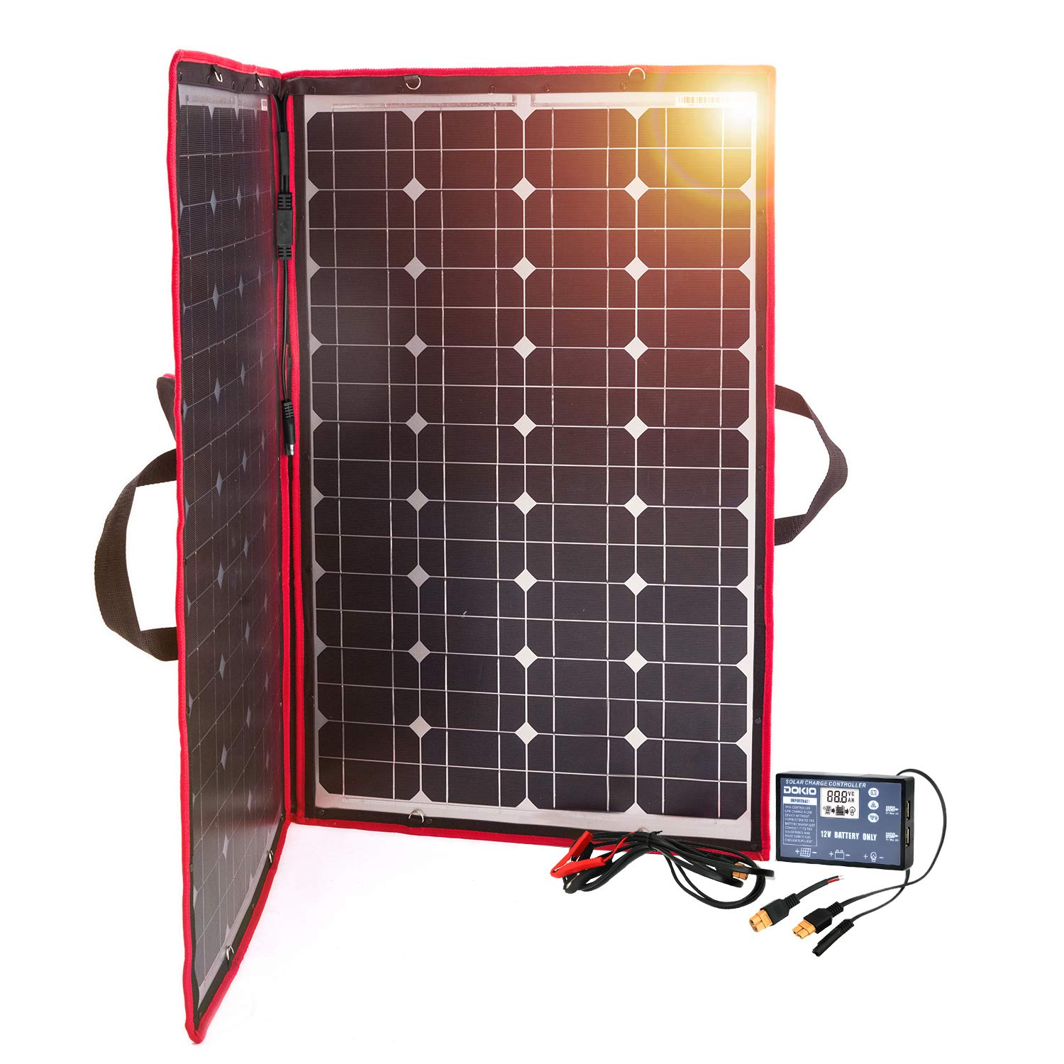 DOKIO 100W 12V Foldable Solar Panel Kit Monocrystalline with Solar Controller USB Output for Caravan RV Boat Camper Any Other Irregular Surface by DOKIO
