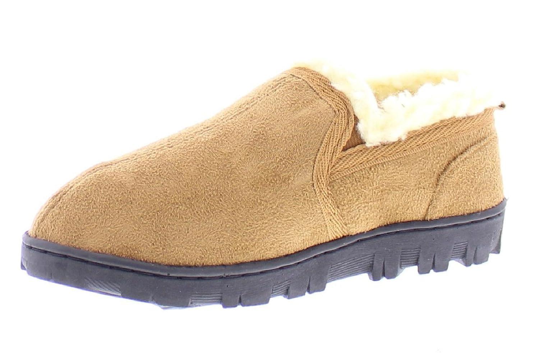 GOLDTOE Gold Toe Boy's Norman Memory Foam Slippers, Warm Sherpa Fleece Lined House Shoes, Casual Slip-On Loafers NormanB