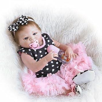 ZELY 22 Pulgadas Reborn Muñeca Bebé Cuerpo Entero Silicona Recien Nacido Niña Dolls Ojos Abiertos Niños Juguetes 55 cm Magnético Chupete