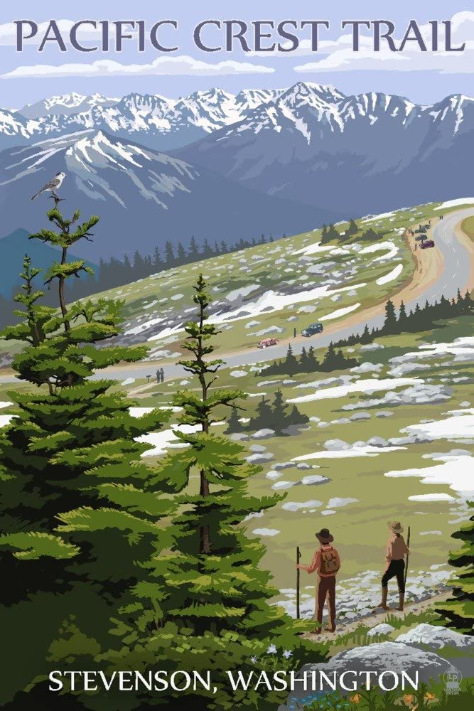 Stevenson, Washington - Pacific Crest Trail and Hikers (24x36 Fine Art Giclee Gallery Print, Home Wall Decor Artwork Poster)