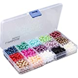 Linsoir Beads 1500 Pcs Tiny Satin Luster Imitation Pearls Round Loose Beads Value Pack 15 Color Assorted (6mm)