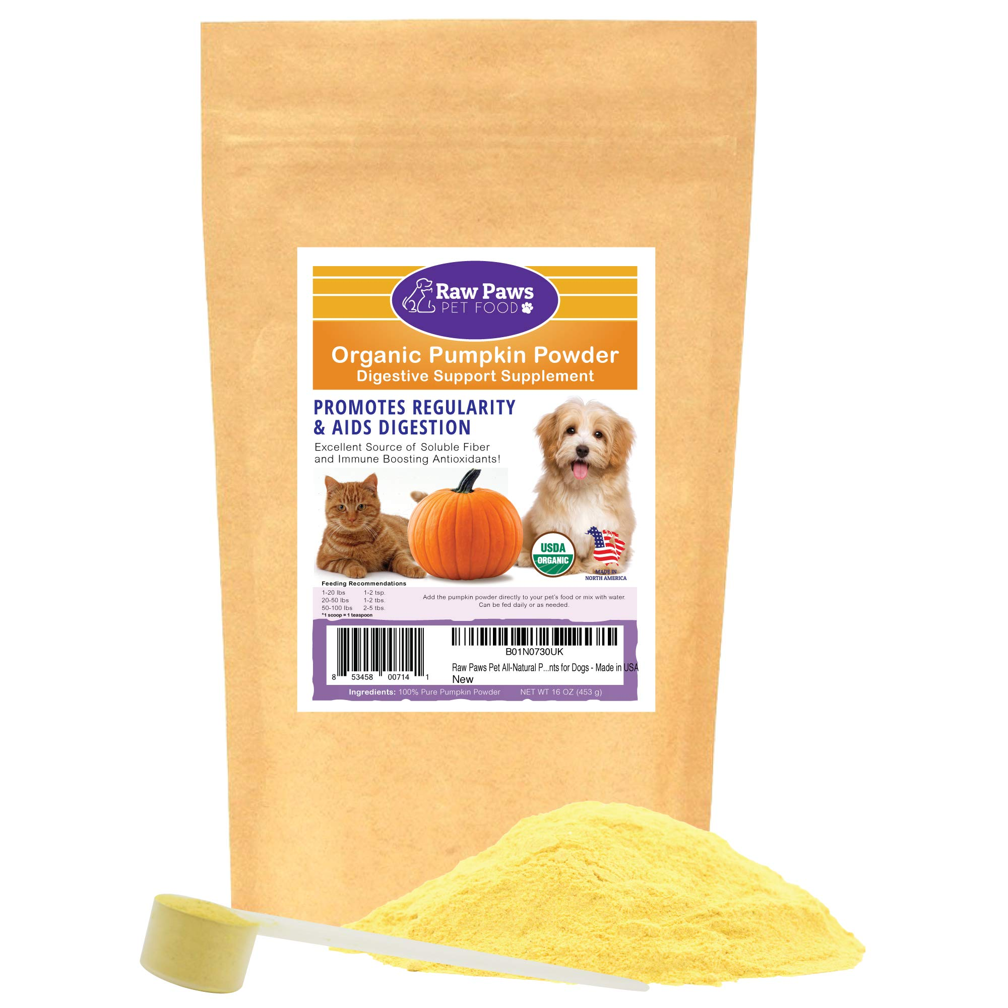 Raw Paws Pet Organic Pure Pumpkin for Dogs & Cats, Powder 16-oz - Fiber for Dogs - Cat & Dog Digestive Supplement for Healthy Stool, Regularity, Dog Gas Relief & Anti Scoot - Cat & Dog Diarrhea Relief by Raw Paws