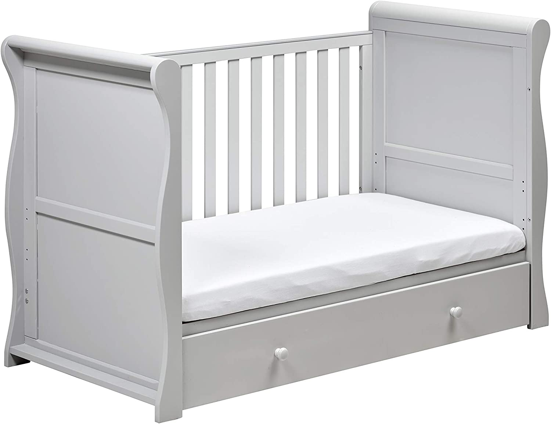 Grey East Coast Nebraska Sleigh Cot Bed with Drawer